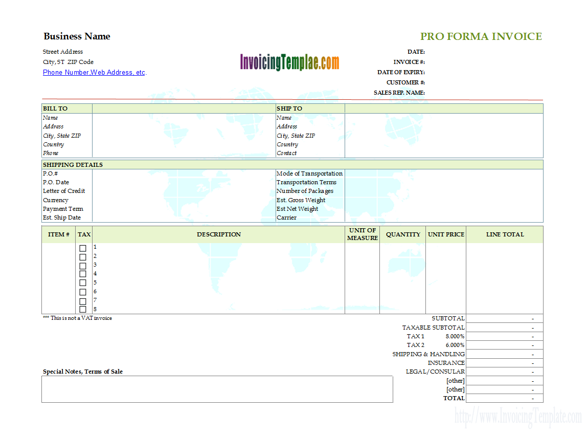 Proforma Invoice With Printable Earth Map Background  Service