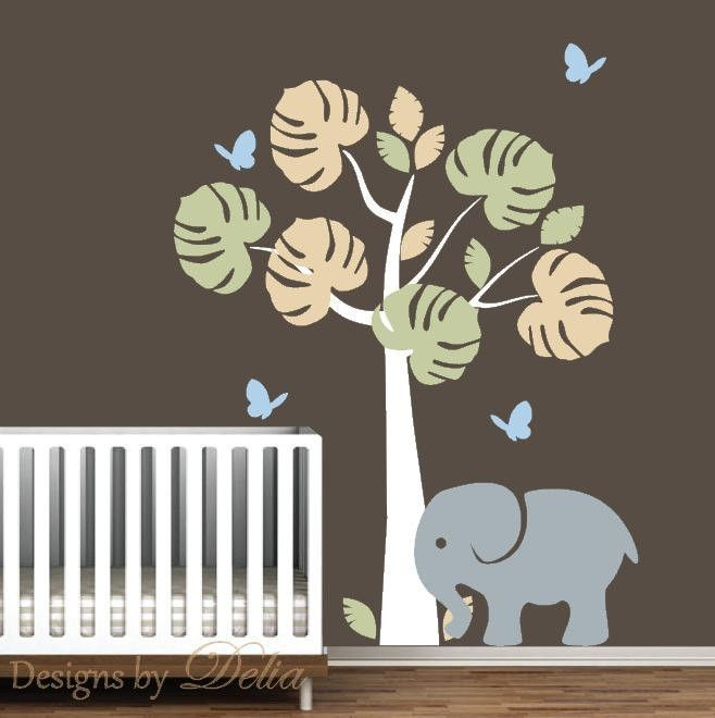 Tree Baby Nursery Wall Vinyl Decal, Butterflies, Elephant Wall Stickers |  Wall Vinyl, Wall Sticker And Nursery