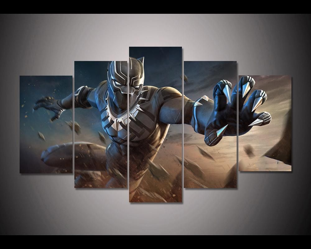 Black Panther Marvel Contest Of Champions 5 Piece Canvas Wall Art Itdayshop Canvas Wall Art Wall Art Marvel Paintings