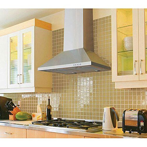Kitchen Bath Collection STL75-LED Stainless Steel Wall-Mounted Kitchen Range Hood with High-End LED Lights 30