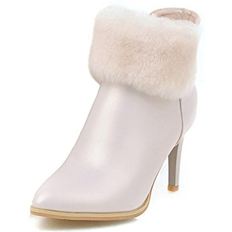 Women's Sexy Faux Fur Pointed Toe Stiletto High Heel Side Zipper Ankle Booties