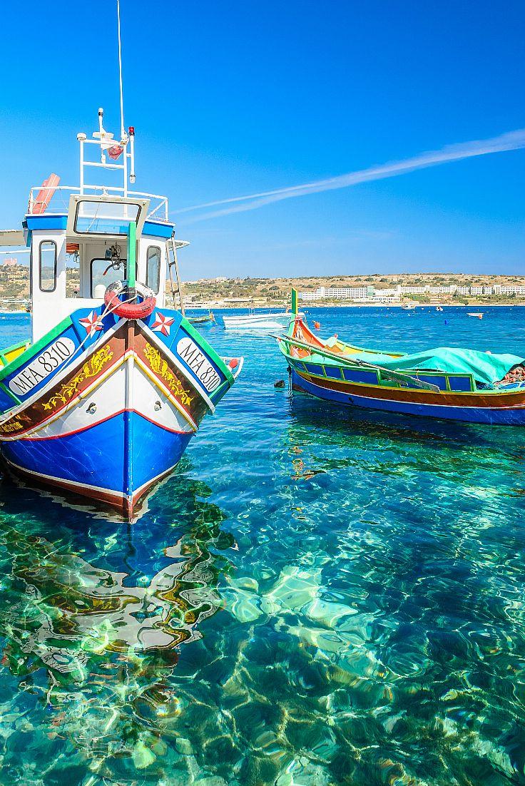 Luzzus Colourful Traditional Maltese Fishing Boats Malta Beaches Malta Travel Malta