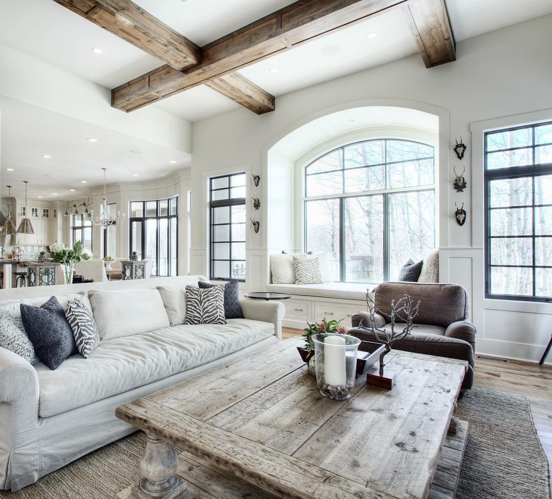 Great Room With Beams Farm House Living Room Farmhouse Decor