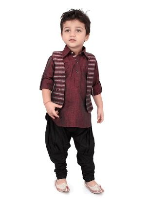 7db76e14d Shoot Out Boy s Kurta   Jodhpuri Churidar Set - Black   Maroon in ...
