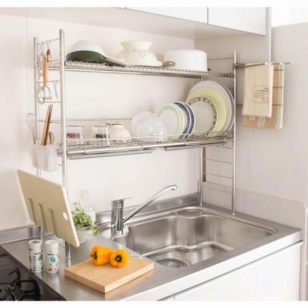 食器 スパイス まな板 立体的にキッチンを使えるシンクに渡して使う水切りラック サイドには箸置きやふきん掛け コップホルダーもセットになっているので キッチン周りに置いておきたいヘビーユースアイテムを上手に収納することができます a 1 Ide Dapur