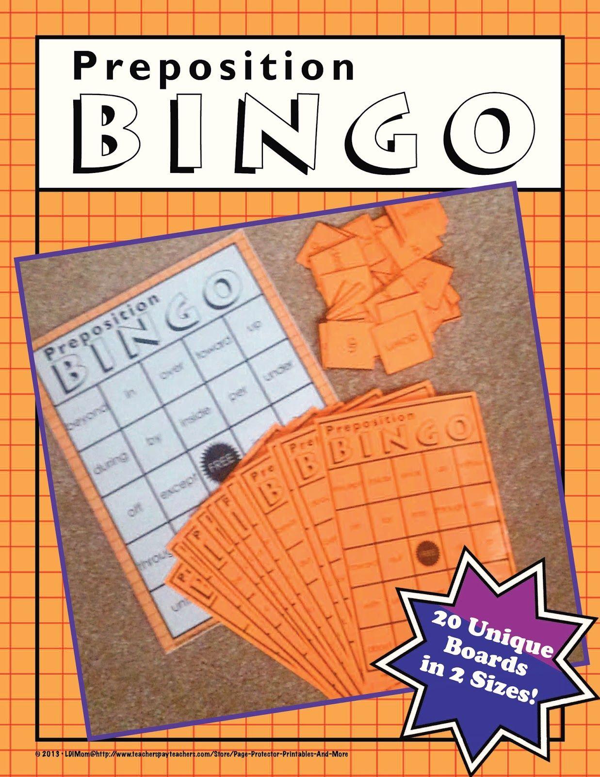 Fern S Freebie Friday Free Preposition Bingo