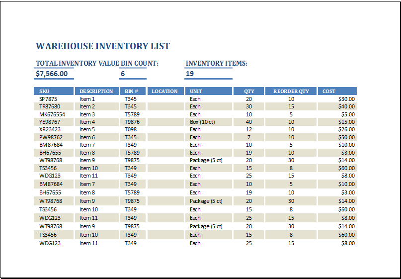 Warehouse Inventory Template At HttpWwwXltemplatesOrg