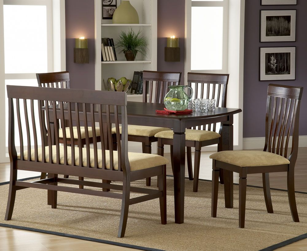 country style dining room furniture. Appealing Country Style Dining Room Furniture Sets With Wooden Table Plus 4-piece Chair And Bench Using Cream Fabric Seat Also Rectangular C