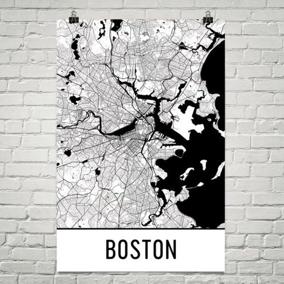 Boston Map Boston Art Boston Print Boston Massachusetts Poster