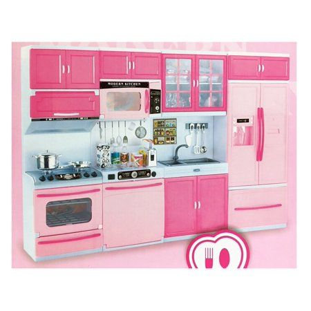 Deluxe Modern Kitchen 32 Full Deluxe Kit Battery Operated Toy Doll Kitchen Playset W Lights Sounds Perfect For Use With 11 12 Tall Dolls Walmart Com Barbie Kitchen Barbie Room Barbie Doll House