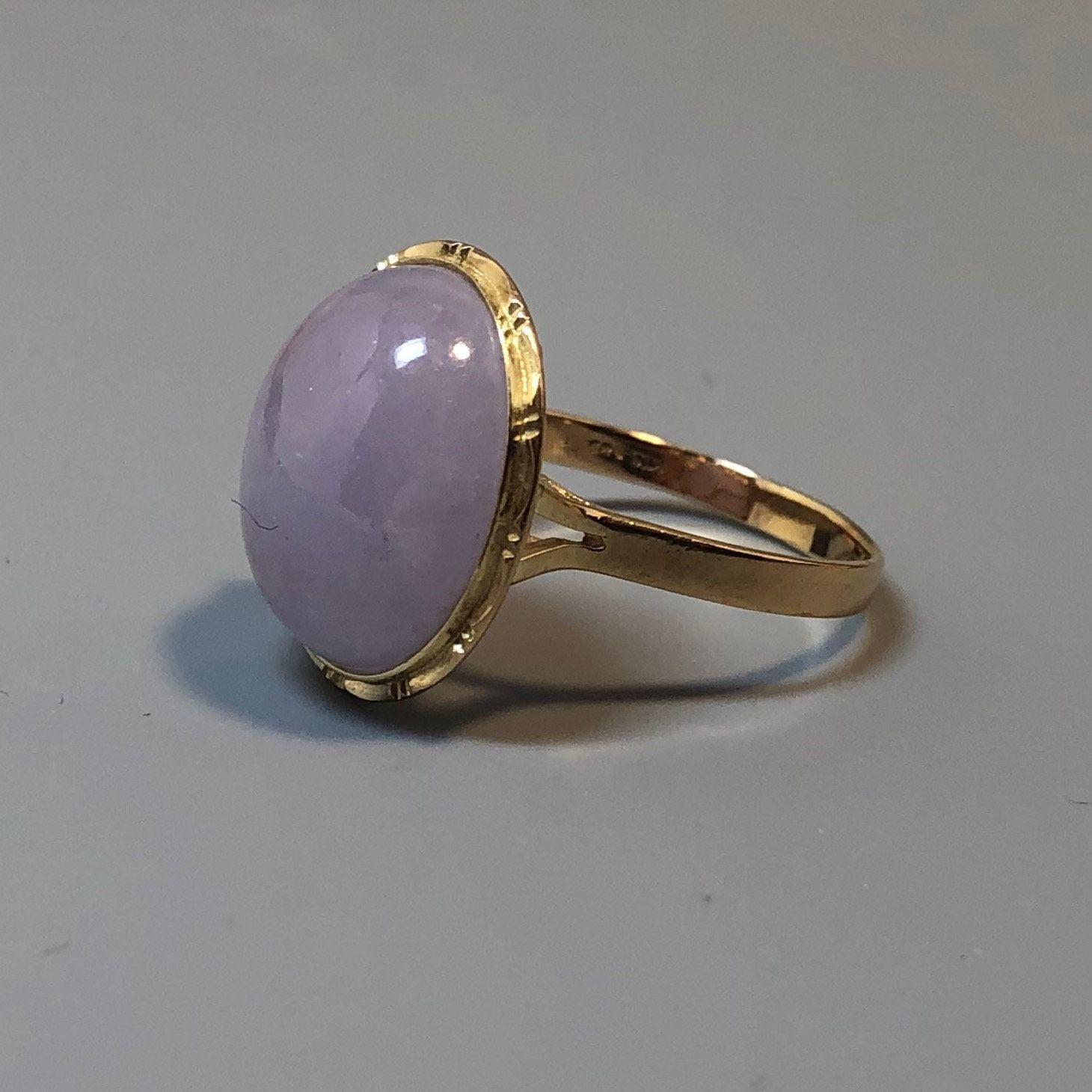 Vintage 18K Solid Yellow Gold Natural Purple Lavender Green Jadeite Jade Ring Size 7