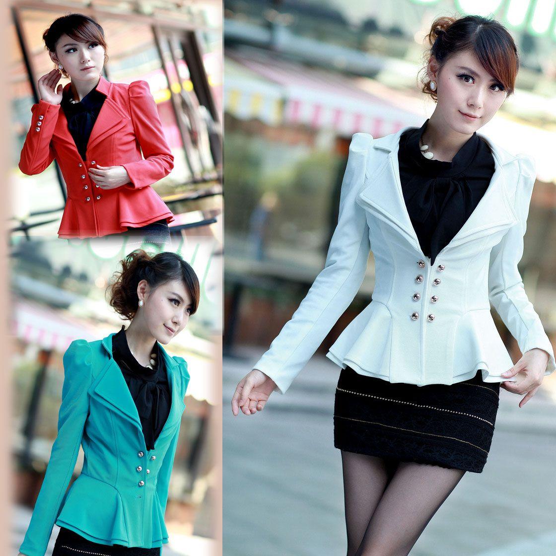 393183feb0f16 la primavera y el otoño de blazer femenino delgado la manga de hojaldre  doble botonaduraa blanco de primavera