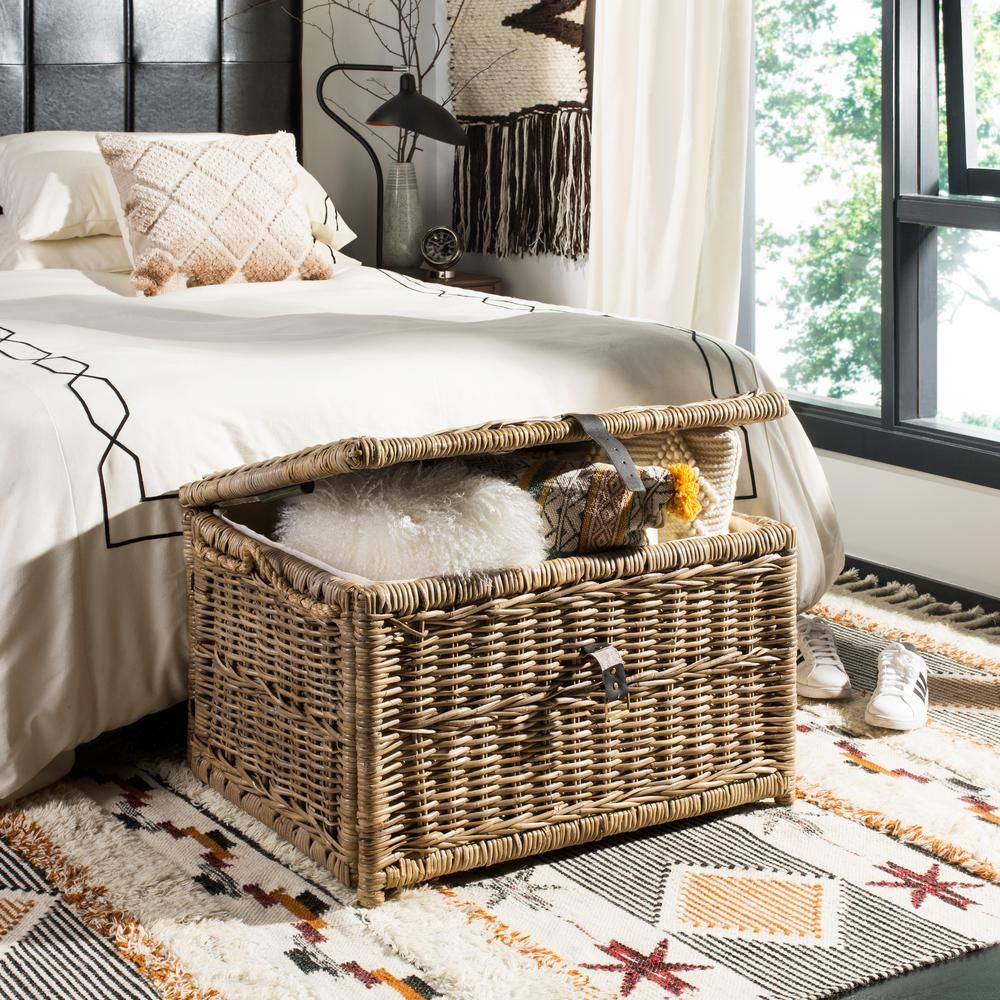 Happimess Caden 30 In Natural Wicker Storage Trunk Hpm9001c Wicker Storage Trunk Wicker Baskets Storage White Wicker Furniture #storage #trunk #for #living #room