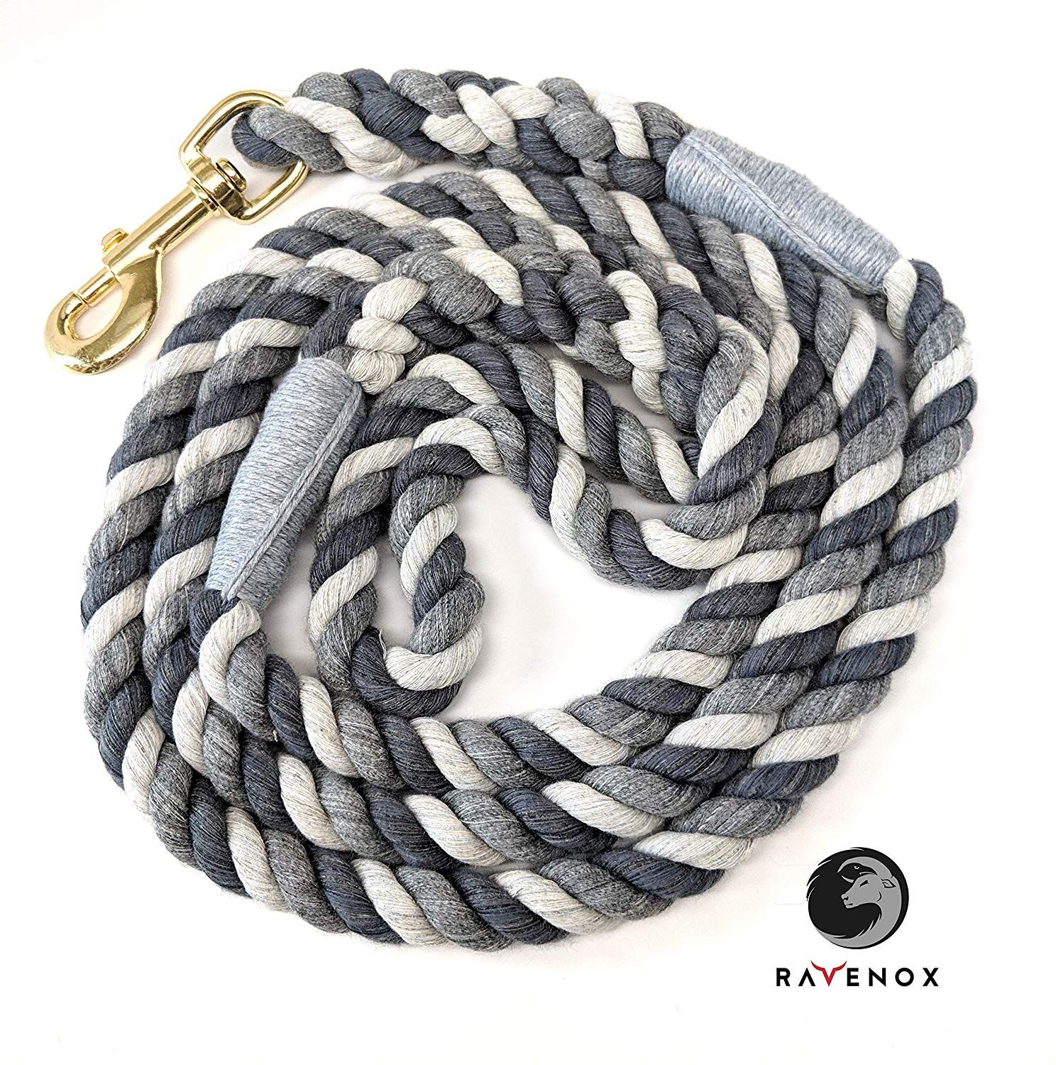 Amazon Com Ravenox Cotton Rope Leash Lead 1 2 Inch X 6 Foot For Medium Or Large Dogs Pets Grey Handmade In The Usa W Rope Dog Rope Dog Leash Dog Leash