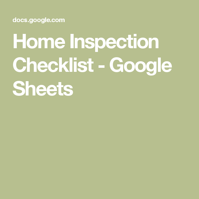 Home Inspection Checklist  Google Sheets  RE Lists
