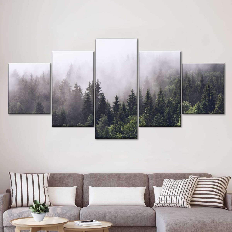 Forest Canvas Print Foggy Forest Wall Art Foggy Forest Etsy In 2020 Forest Wall Art Tree Wall Art Scandinavian Canvas Art