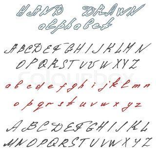 Hand drawn font. Handwriting doodle alphabet