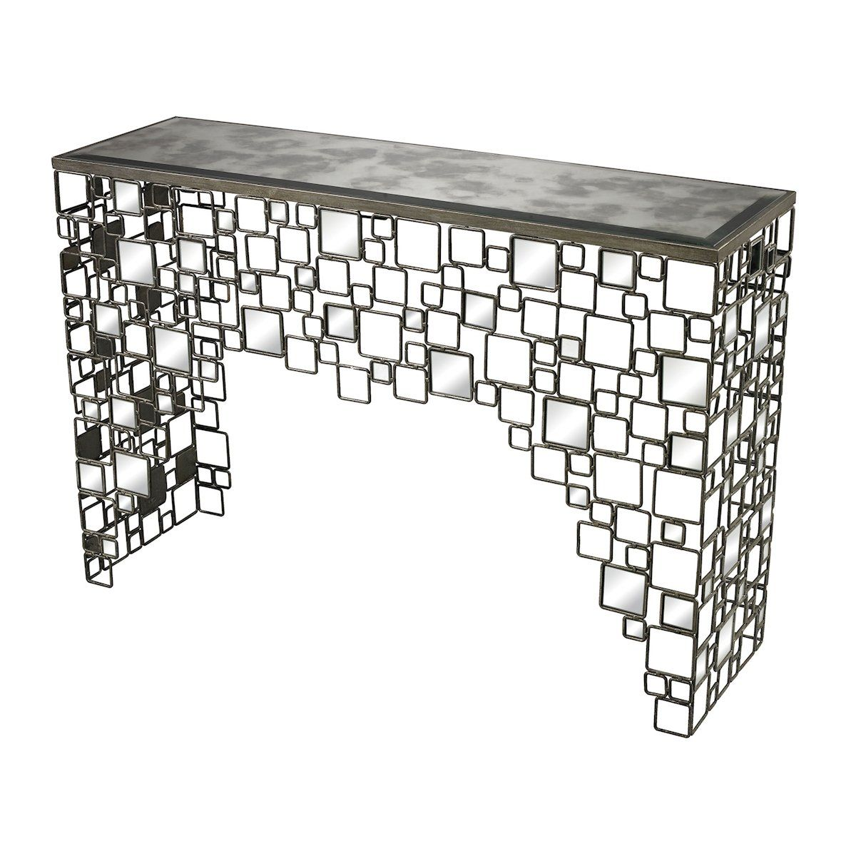 Metal and antique mirror console table by elk lighting elk metal and antique mirror console table by elk lighting geotapseo Image collections