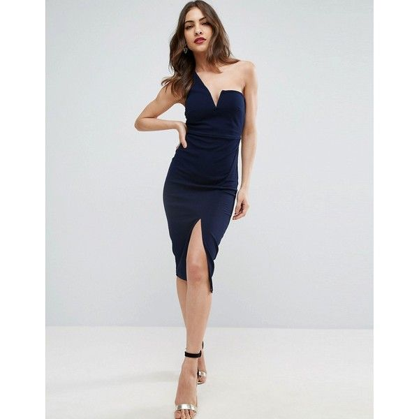 fc5513ea5de3 ASOS Textured One Shoulder V Bone Midi Dress ( 52) ❤ liked on Polyvore  featuring dresses, navy, asos cocktail dresses, one shoulder dress, one  shou…