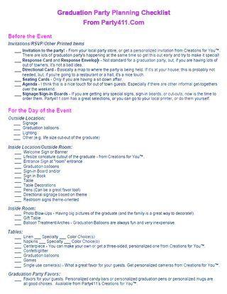 Graduation party planning pdf Party Graduation Pinterest - event planning checklist ideas