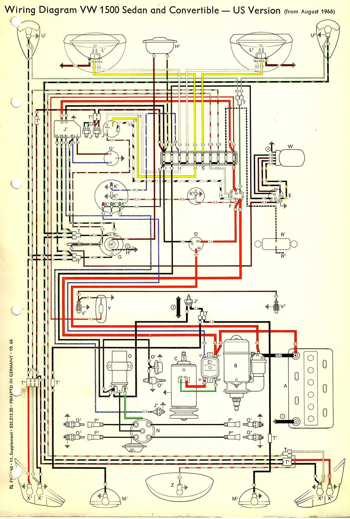 1967 Beetle Wiring Diagram (USA) | TheGoldenBug.com Vw Pointer, Vw Trike