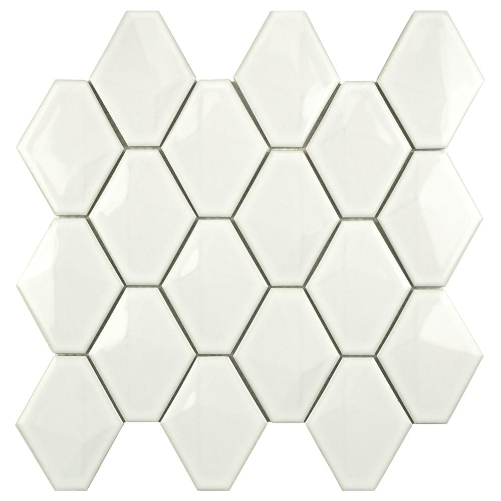 Merola Tile Prism Glossy White 10 1 2 In X 11 In X 8mm Porcelain Mosaic Tile Fdxprgwh Mosaic Wall Tiles Wall Tiles Mosaic Wall