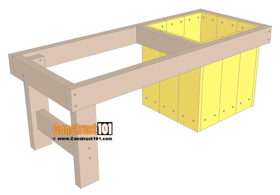 Diy Small Planter Bench Free Plans Pdf Download Construct101 Planter Bench Diy Bench Outdoor Diy Patio Bench