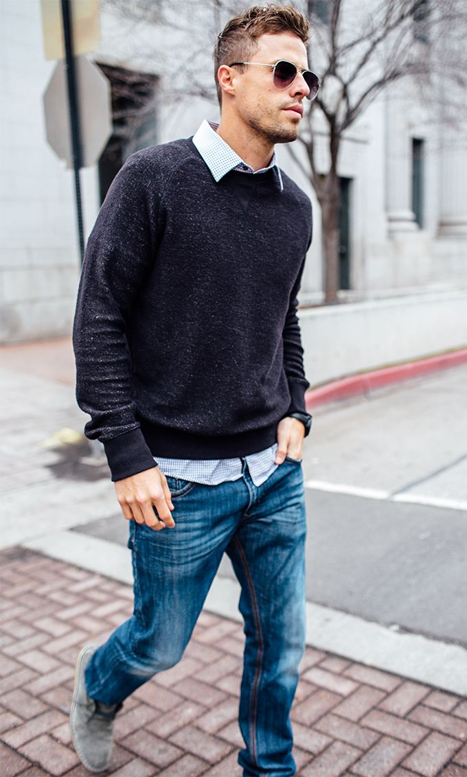 Untucked With A Sweatshirt, Jeans, And Grey Chukkas