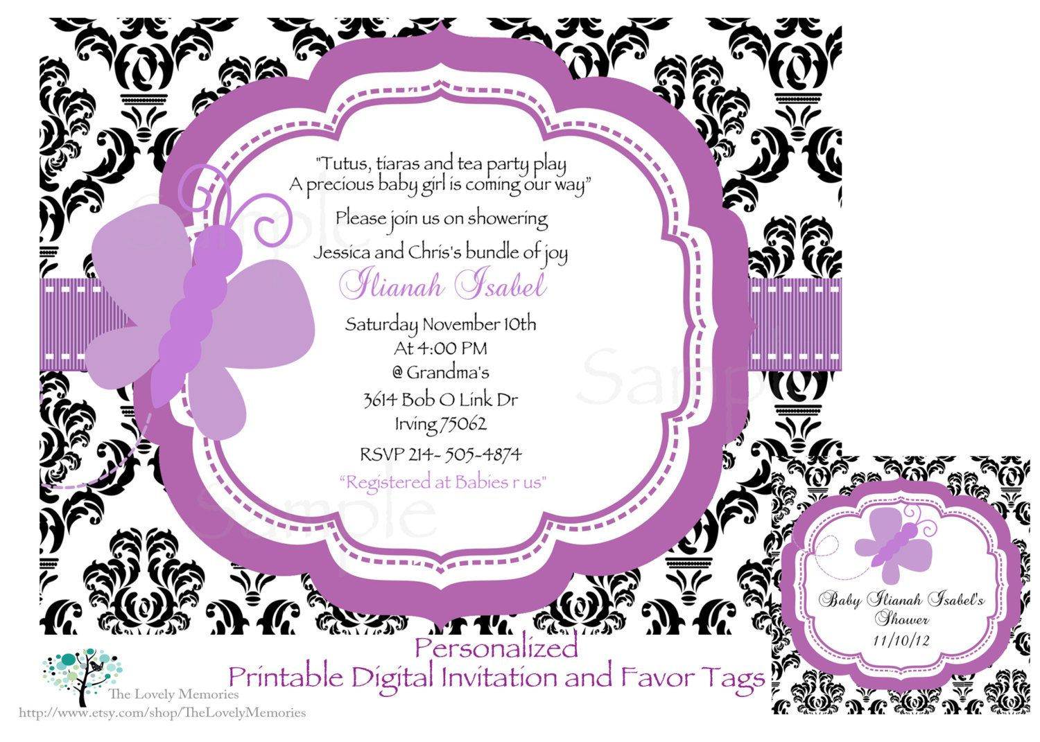 Damask Purple Butterfly Baby Shower Invitation & Favor Tags Set ...