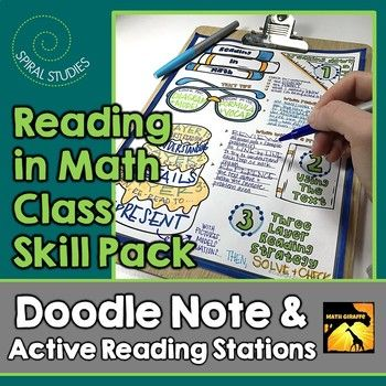 "Reading Skills for Math Class: 1 page visual ""doodle note"" plus learning stations to practice the new reading skills and strategies! When students color or doodle in math class, it activates both hemispheres of the brain at the same time. There are proven benefits of this cross-lateral brain activity."
