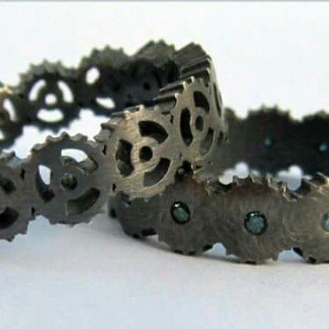 Oxidised silver cog rings!