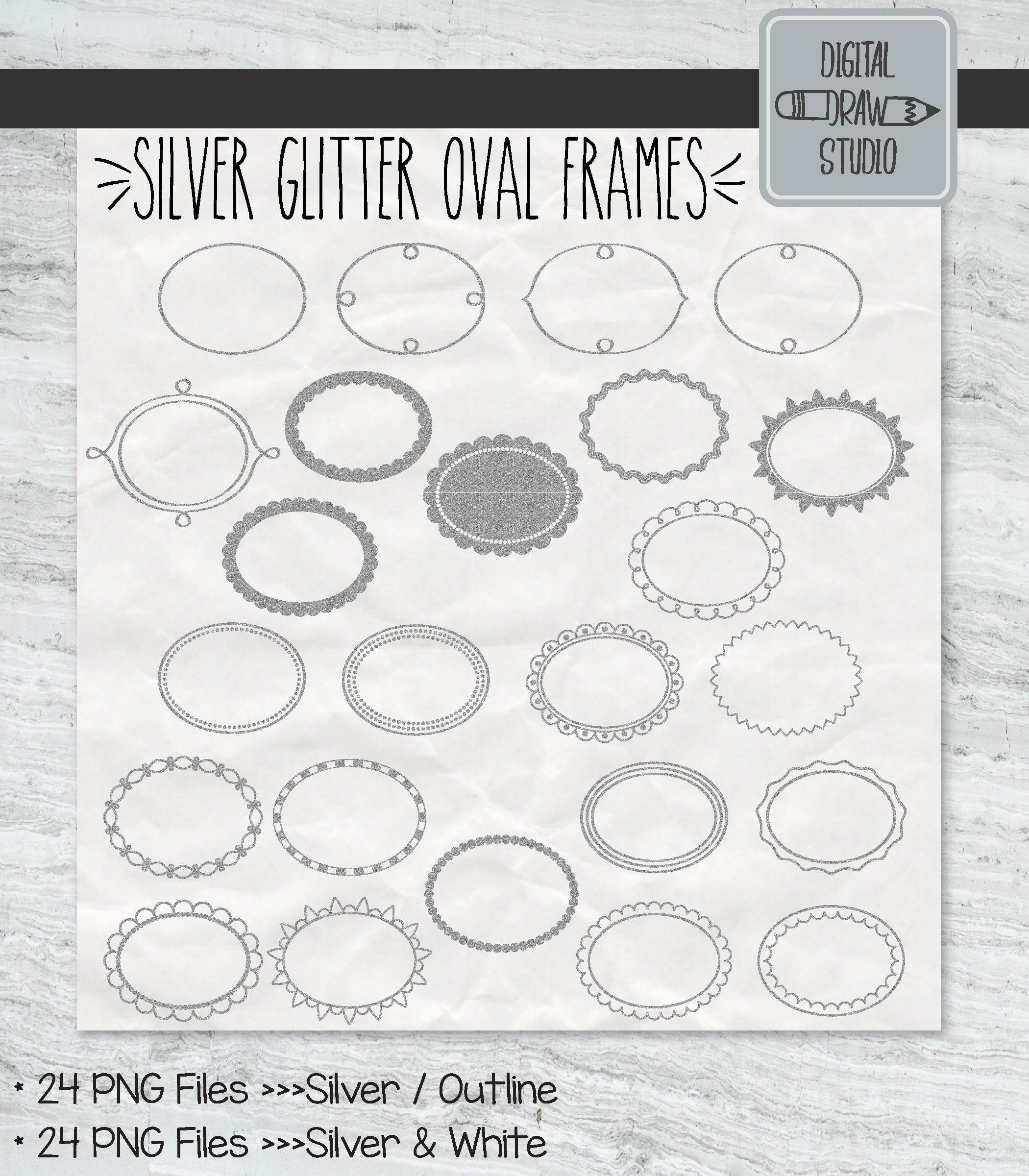 Photo of 24 Silver Glitter Oval Frame Clip Art | Hand Drawn Border + Decorative Labels | Floral Wreaths Illustrations Bundle | Printable PNG files