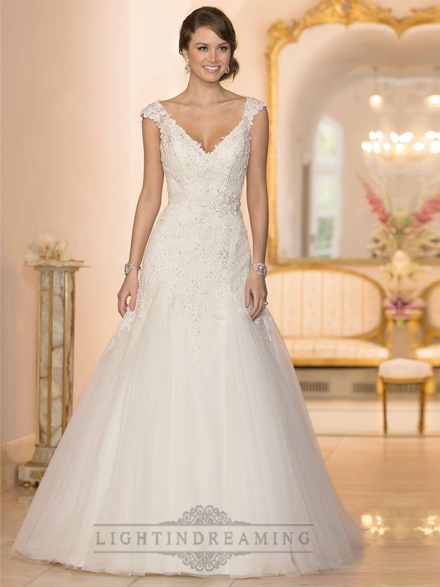 Cap Sleeves V Neck A Line Lace Beaded Deep V Back Wedding Dresses