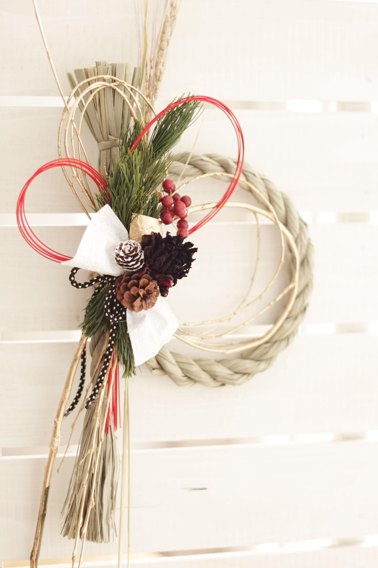 Japanese New Year decoration お正月 飾り リース, お正月 ディスプレイ, お正月 飾り