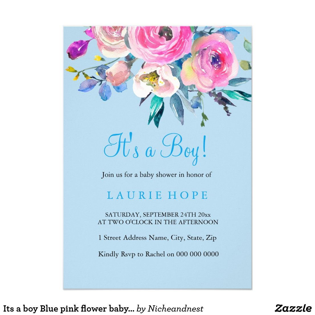 Its a boy Blue pink flower baby shower invite | Baby Shower ...