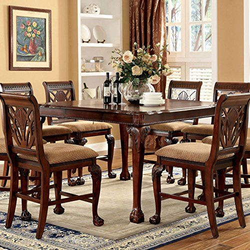Petersburg English Style Cherry Finish 9Piece Counter Height Pleasing 9 Pc Dining Room Sets Inspiration Design