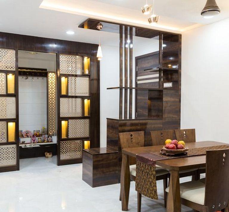 20 Simple Warm Villa Interior Designs For Inspiration Living Room Partition Design Living Room Partition Room Partition Designs