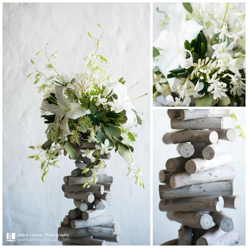 Centro de mesa rustico en tonos blancos ideal para boda en - Centro de mesa rustico ...