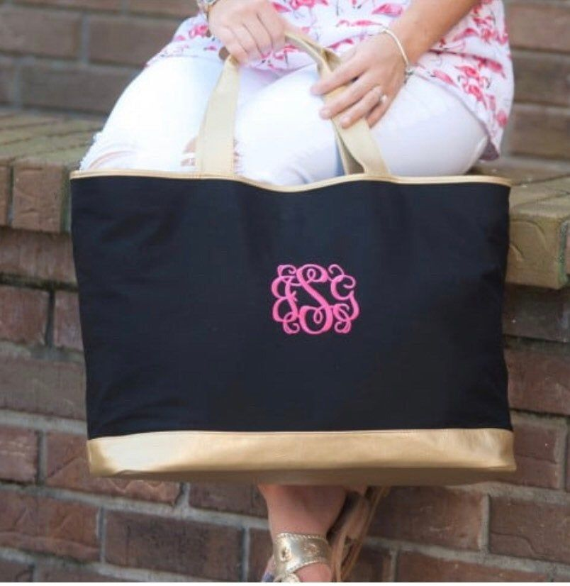 Bridesmaid Gift Personalized Ultimate Tote Bag Monogrammed Travel Bag Bridal Party Tote Hot Pink Monogram Large Utility Tote