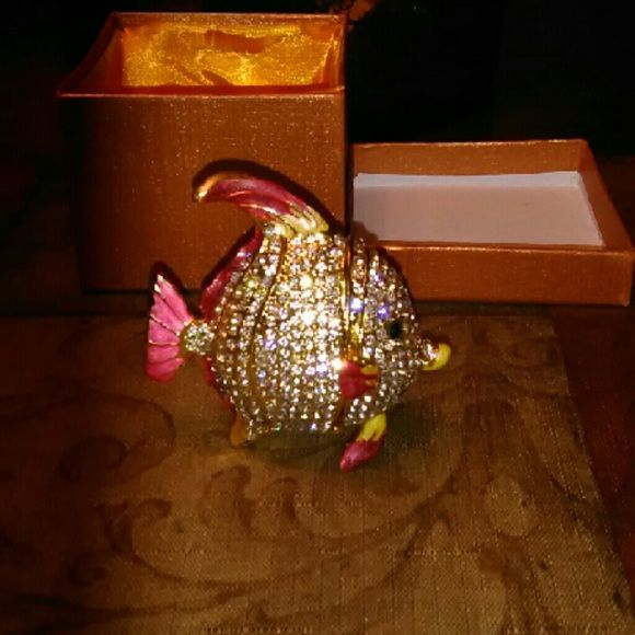 Tropical Fish Jewelry Box/Figurine Stunning collectable with immaculate detailing encrusted with radiant rhinestones opens up to store a few of your precious gems true work of art that is certain to capture attention lavishchicboutique  Other