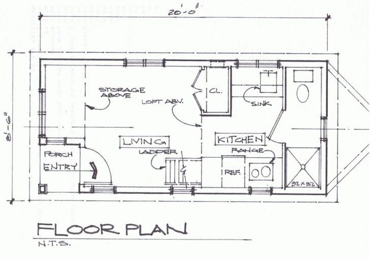 8 X 20 Tiny House Floor Plans Cottage Small Houses On