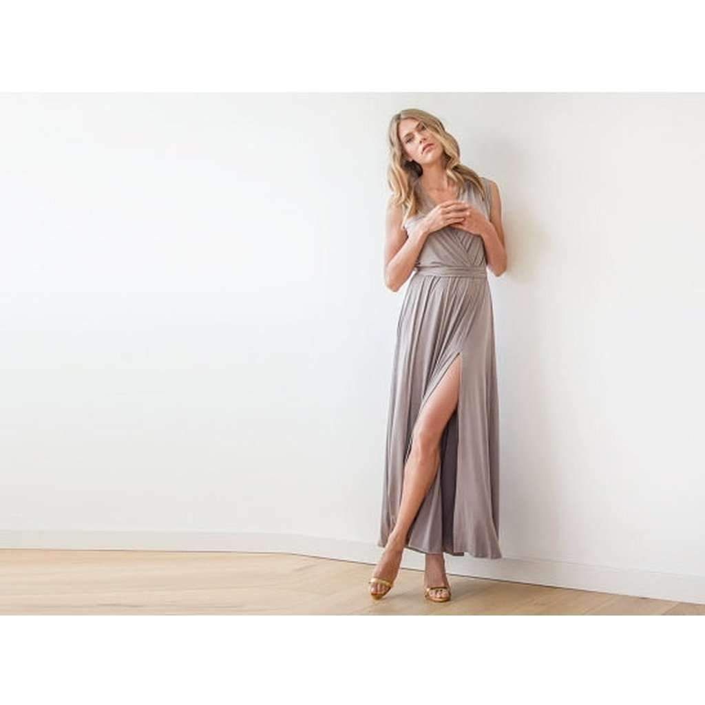 Taupe sleeveless maxi wrap dress sale products pinterest