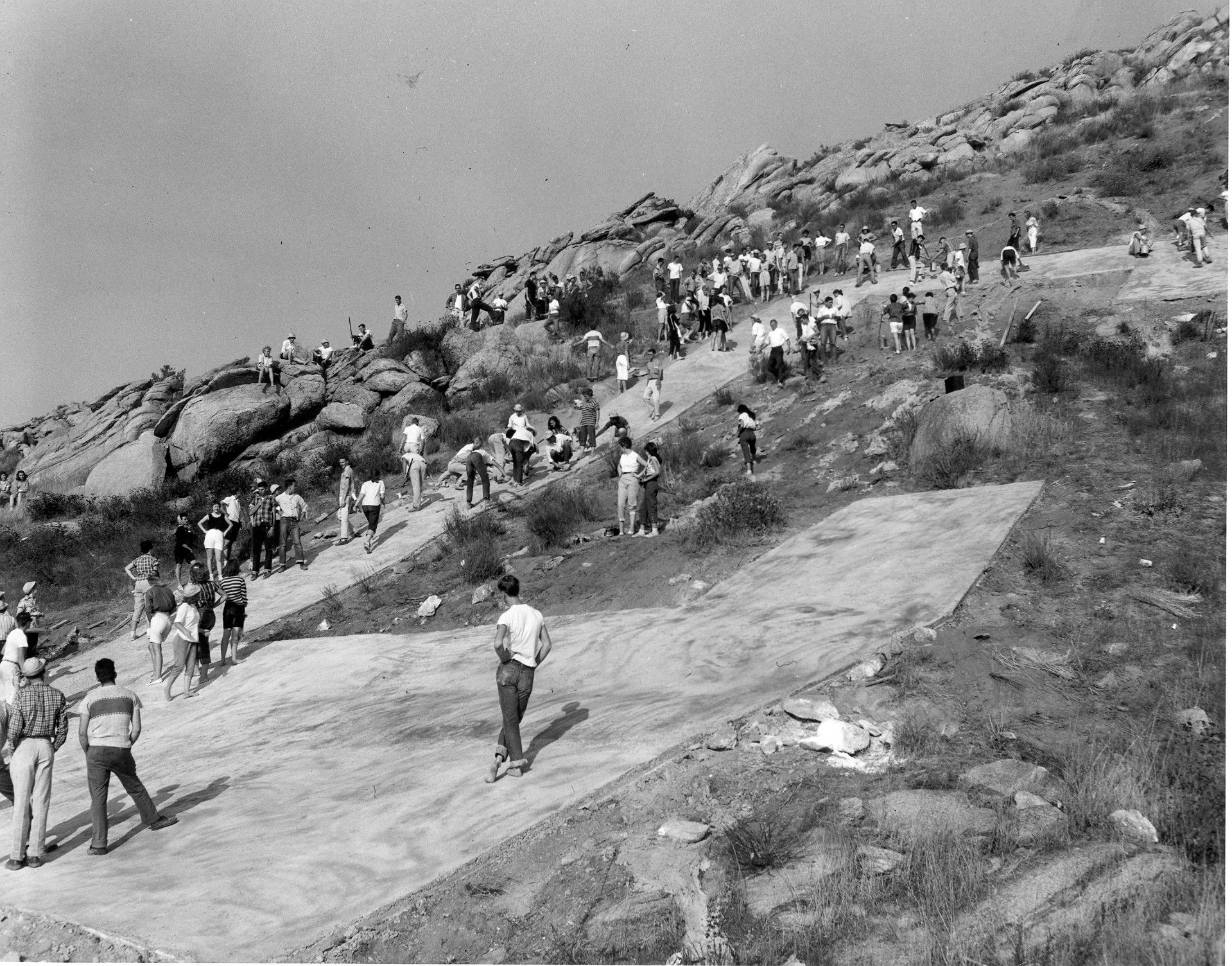 August 1955 picture of the big concrete c on box