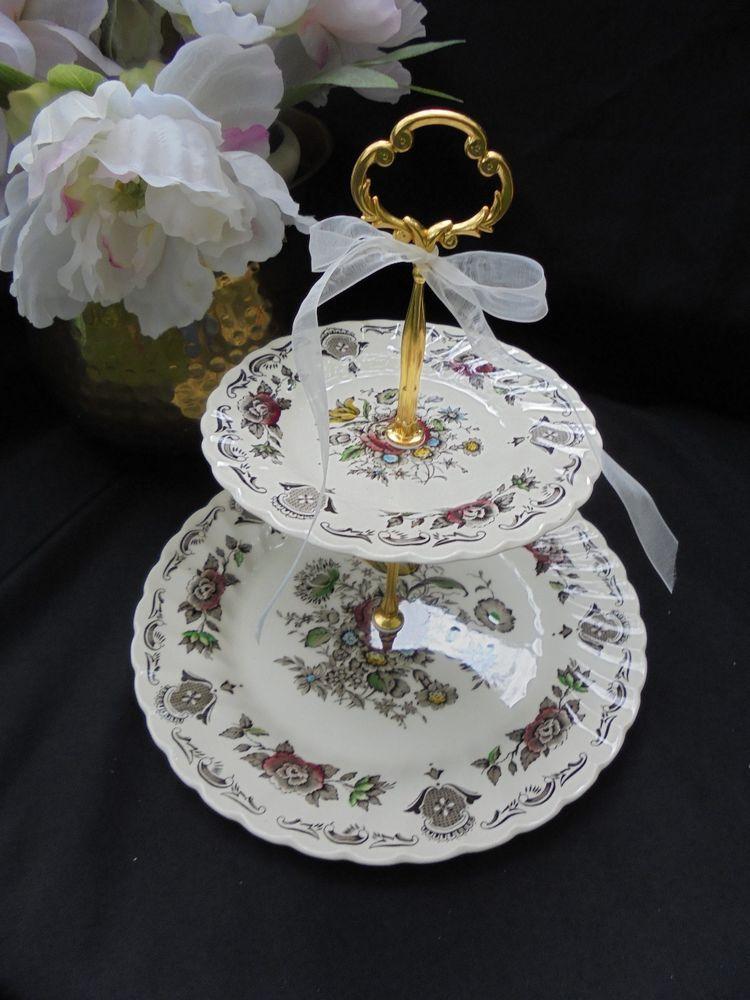 Staffordshire MYOTTS BOUQUET 2 Tier Cake Stand Wedding