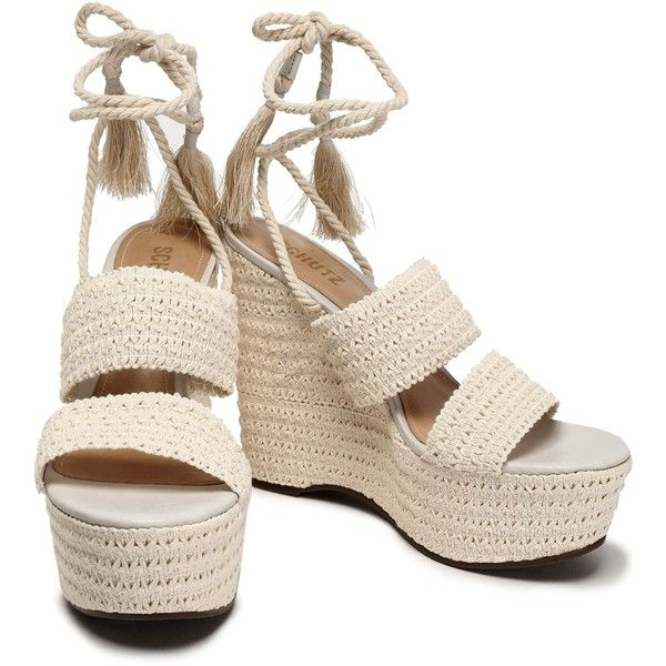ad09b43b228 Schutz Lace-up shirred crochet platform wedge sandals ( 120) ❤ liked on  Polyvore featuring shoes and sandals