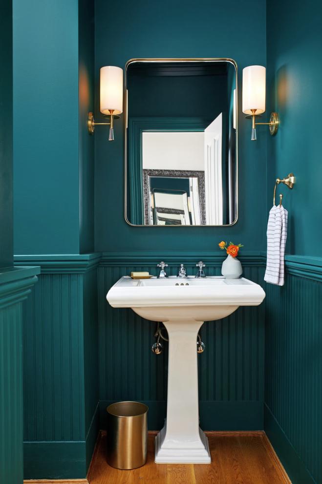 29 Half Bathroom Ideas With Beautiful Color Paint Tile Shower Storage Teal Bathroom Teal Bathroom Decor Beadboard Bathroom