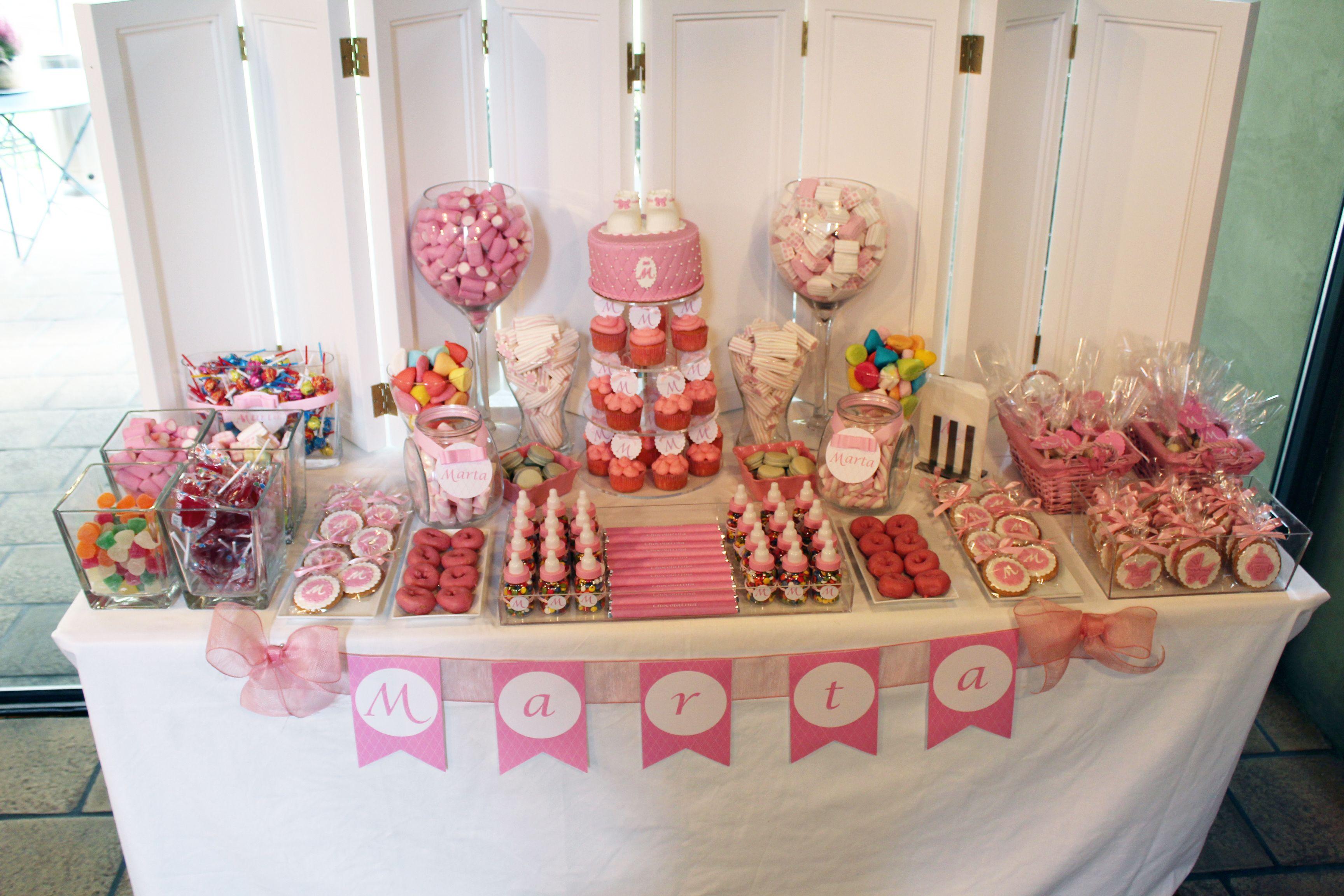 Mesa dulce bautizo ni a en tonos rosas ideas bautizo - Mesa de chuches para bautizo ...