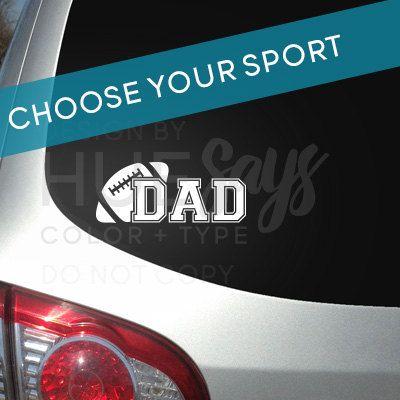 Window Sticker Car Decal Sports Dad Dad Gift Football Window - Window decals for sports
