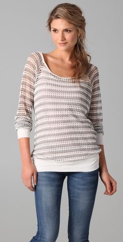 Ella Moss Harbor Mesh Striped Pullover - StyleSays