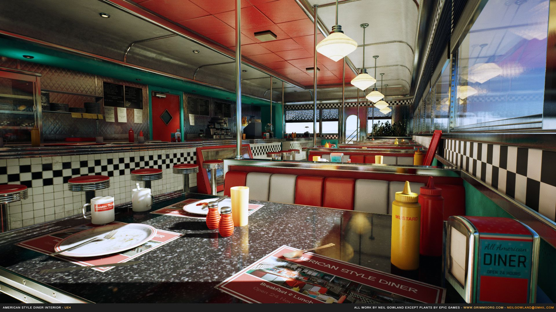 Artstation American Style Diner Interior Neil Gowland In 2020